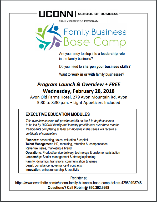 UConn Family Business Program Base Camp Flyer